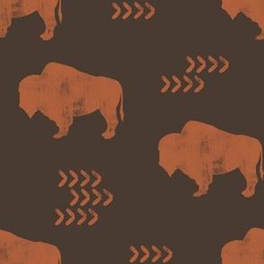 distressed buffalo - rust on brown C18BS