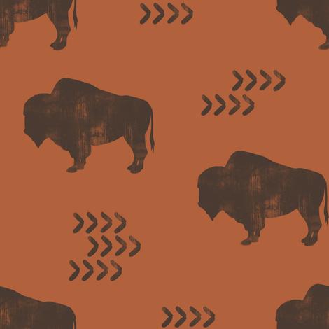 distressed buffalo - brown on rust C18BS fabric by littlearrowdesign on Spoonflower - custom fabric