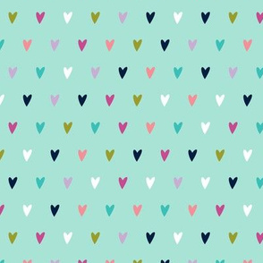 multi hearts    good cheer colorway on aqua C18BS