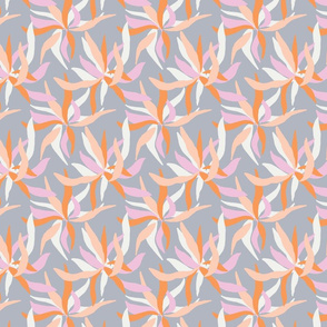 Spiky floral in orange and pink on grey