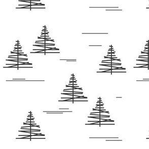 Christmas tree - geometric christmas tree, black and white