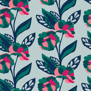 Emerald bold floral on grey