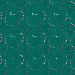 Emerald green dotted/dashed circular pattern