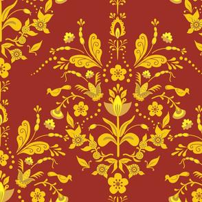 Swedish Damask Burgundy