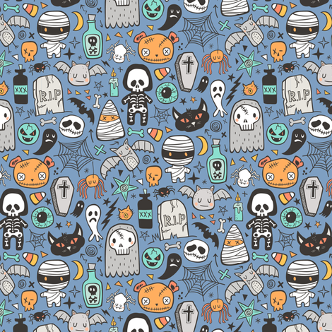 Halloween Doodle Skulls,Spiders,Skeleton,Bat, Ghost,Web, Zombies on Blue Smaller Tiny fabric by caja_design on Spoonflower - custom fabric