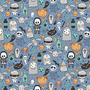 Halloween Doodle Skulls,Spiders,Skeleton,Bat, Ghost,Web, Zombies on Blue Smaller Tiny