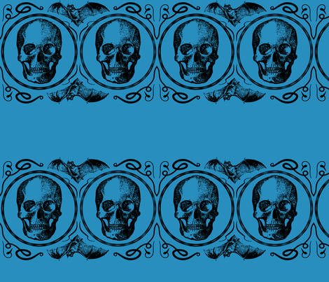 Teal Bats skull halloween fabric by purple_sky_designs on Spoonflower - custom fabric