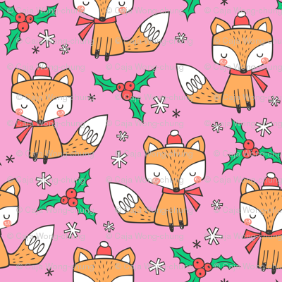 Winter Christmas Xmas Holidays Fox With snowflakes , hats  beanies,scarf  Red Orange on Pink