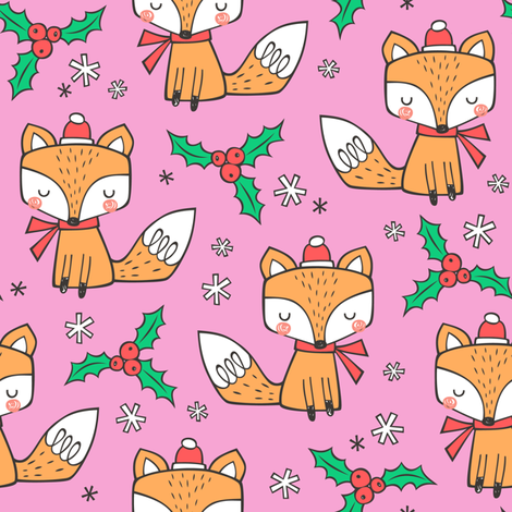 Winter Christmas Xmas Holidays Fox With snowflakes , hats  beanies,scarf  Red Orange on Pink fabric by caja_design on Spoonflower - custom fabric