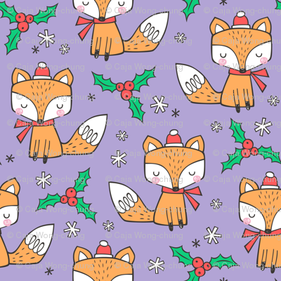 Winter Christmas Xmas Holidays Fox With snowflakes , hats  beanies,scarf  Red Orange on Lavender Purple