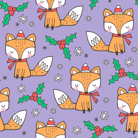 Winter Christmas Xmas Holidays Fox With snowflakes , hats  beanies,scarf  Red Orange on Lavender Purple fabric by caja_design on Spoonflower - custom fabric