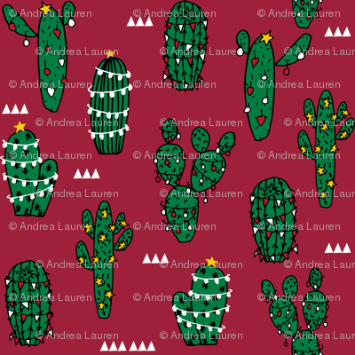 MINI MICRO - christmas cactus // cute christmas xmas fabrics best christmas red and green fabrics