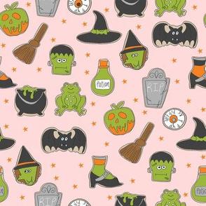 halloween cookies // cute halloween food, potion, frog, witch, frankenstein, halloween food -  peach