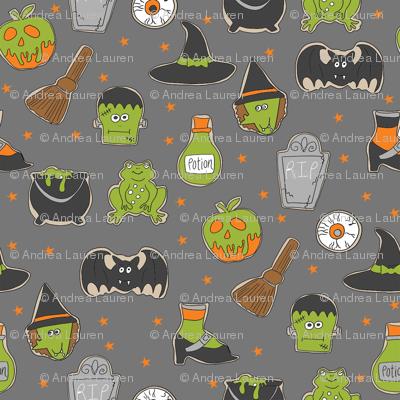 halloween cookies // cute halloween food, potion, frog, witch, frankenstein, halloween food - grey