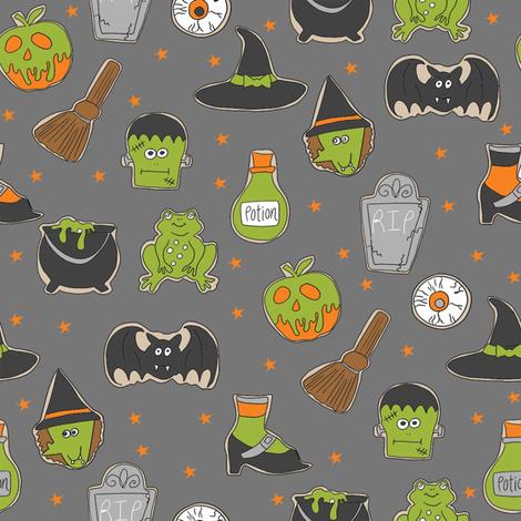 halloween cookies // cute halloween food, potion, frog, witch, frankenstein, halloween food - grey fabric by andrea_lauren on Spoonflower - custom fabric