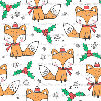 Winter Christmas Xmas Holidays Fox With snowflakes , hats  beanies,scarf  Red Orange on White