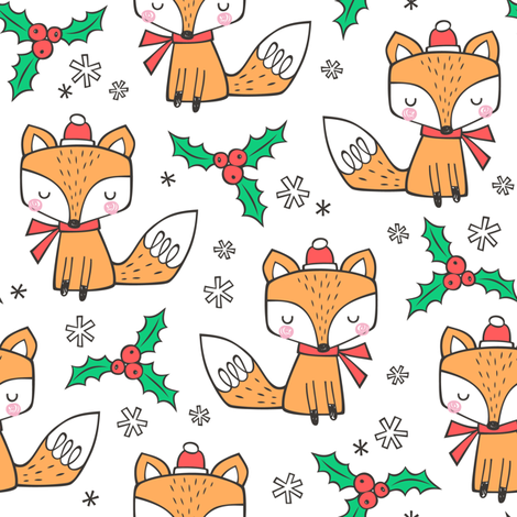 Winter Christmas Xmas Holidays Fox With snowflakes , hats  beanies,scarf  Red Orange on White fabric by caja_design on Spoonflower - custom fabric