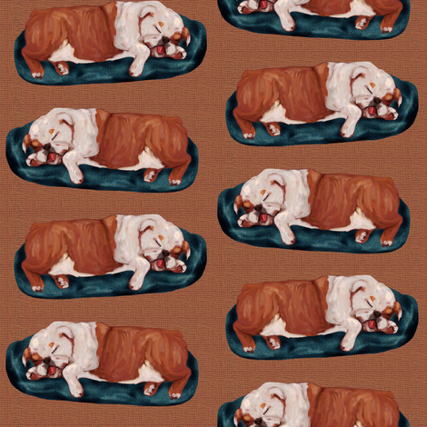English Bulldog Napping fabric by eclectic_house on Spoonflower - custom fabric