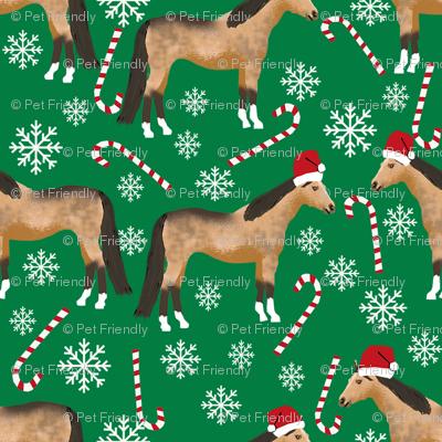 buckskin horse christmas fabric - holiday snowflake, candy cane, xmas, design