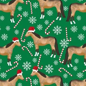 buckskin horse christmas fabric - holiday snowflake, candy cane, xmas, design