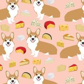 corgi cheese lover fabric - dog, dogs, cheese, food, design - peach
