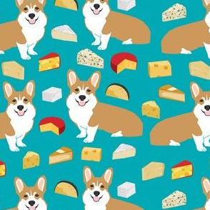 corgi cheesecorgi cheese lover fabric - dog, dogs, cheese, food, design - turquoise
