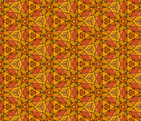 Orange stained glass fabric by maya_lukash on Spoonflower - custom fabric