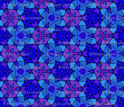 Dark blue kaleidoscopic stained glass