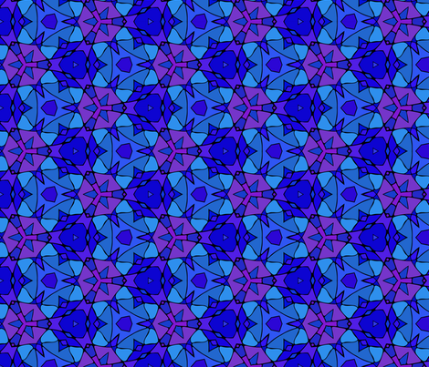 Dark blue kaleidoscopic stained glass fabric by maya_lukash on Spoonflower - custom fabric