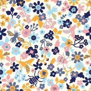 Insects and bloom yellow / baby blue