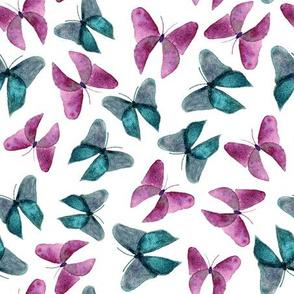 Pink Blue Watercolor Butterflies