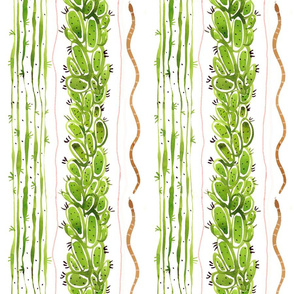 Cactus Leaves Stripes and Snake Stripe Watercolor