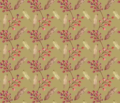 Rowan branches with berries and oak leaves fabric by katrinkastem on Spoonflower - custom fabric