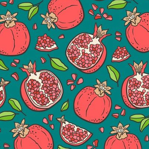 Pomegranate on Teal