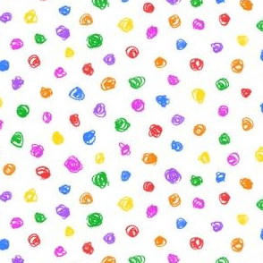 candy colored crayon polkadots