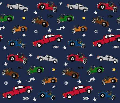jeeps pickups 105 arrows stars - navy forest jeep fabric by drapestudio on Spoonflower - custom fabric