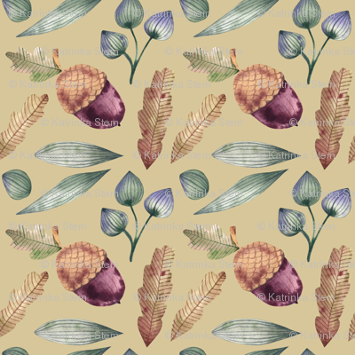 Forest composition of acorns, oak leaves and grasses
