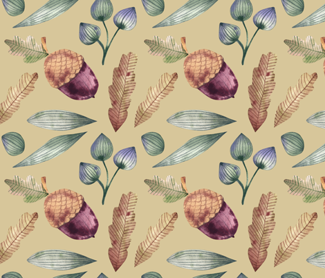 Forest composition of acorns, oak leaves and grasses fabric by katrinkastem on Spoonflower - custom fabric