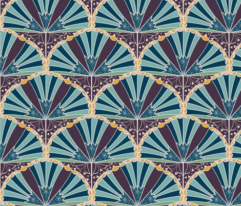 Art Deco Trumpet Flower Scallop with Inlay fabric by amborela on Spoonflower - custom fabric