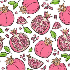 Pomegranate  Pink on White
