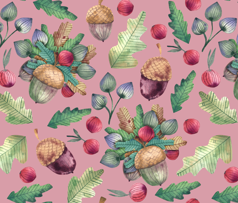 Forest bouquet of berries, acorns and oak leaves, herbs fabric by katrinkastem on Spoonflower - custom fabric