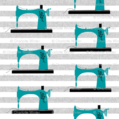 sewing machine print - turquoise, sewing machine, crafting, crafts, quilting, quilter
