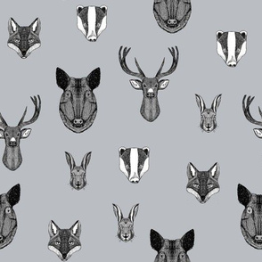 woodland animals // badger, fox, rabbit, boar, hog, deer, buck, doe, grey