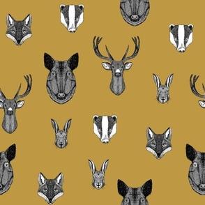 woodland animals // badger, fox, rabbit, boar, hog, deer, buck, doe, mustard