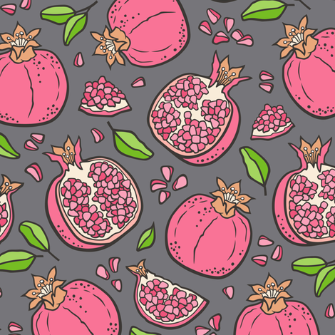 Pomegranate Pink on Dark Grey fabric by caja_design on Spoonflower - custom fabric
