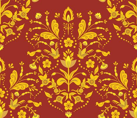Swedish Damask2 Burgundy fabric by vinpauld on Spoonflower - custom fabric