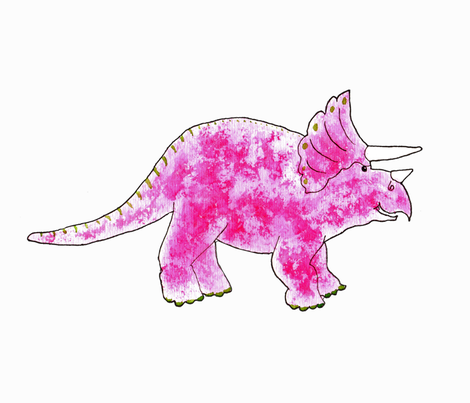 Triceratops Pink for Cut and Sew fabric by dreamoutloudart on Spoonflower - custom fabric