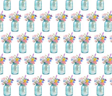 Mason Jar Bouquet Painting  fabric by theartwerks on Spoonflower - custom fabric