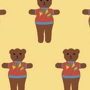 TE_55615_D Teddy bear with flying kites yellow and dark sage on rust with blue trim on mustard