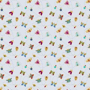 Blue butterflies and bugs